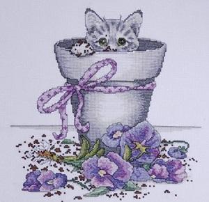 Design Works 2545 Flowerpot Kitty