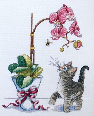 Design Works 2546 Orchid Kitty