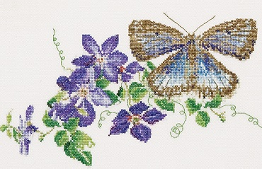 Thea Gouverneur GOK438 Blue butterfly with clematis
