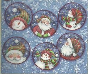 Dimensions 08789 Santa and Snowmen ornament