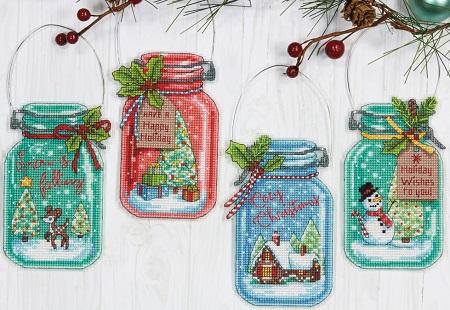 Dimensions 08964 Christmas Jar Ornaments