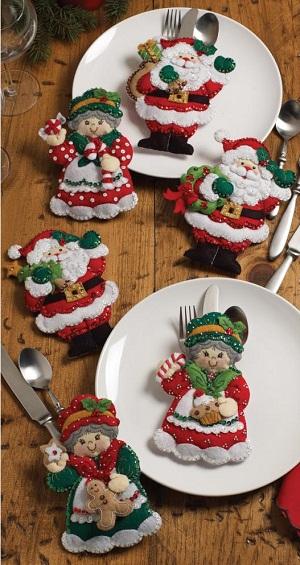 Bucilla 86310 Santa & Mrs. Silverware Holders