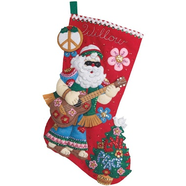 Bucilla 86408 Love and peace Santa stocking
