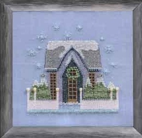 Little Snowy Gray Cottage - Snow Globe Village Series