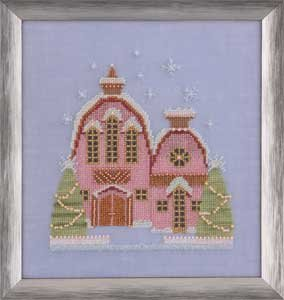 Little Snowy Pink Cottage - Snow Globe Village Series