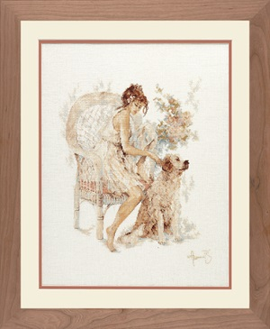 Lanarte PN 7951 Girl in chair with dog