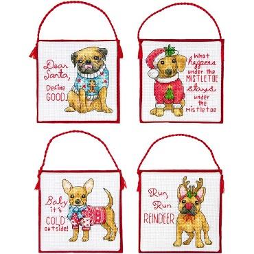 Dimensions 08972 Christmas pups ornaments