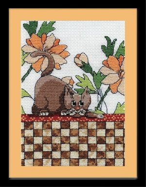 Design Works 2804 Brown checkered cat