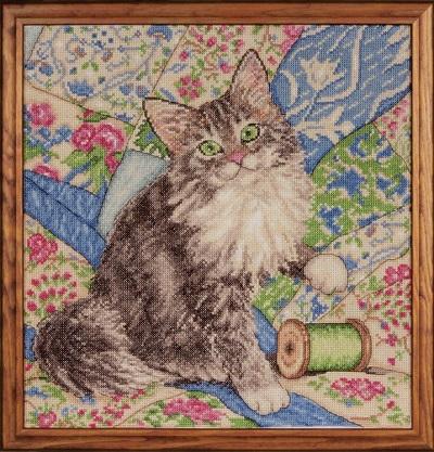 Design Works 2843 Cat on quilt