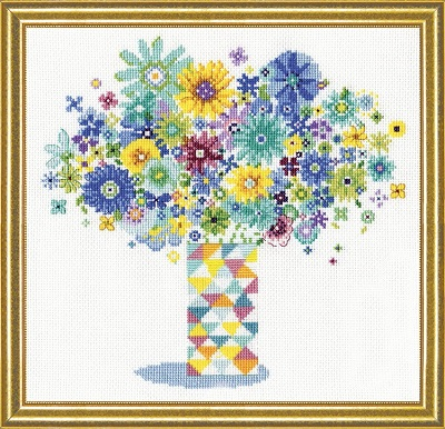 Design Works 2932 Blue floral quilt vase