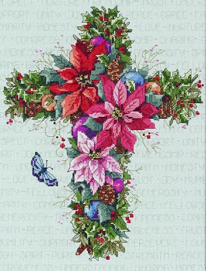 Winter floral cross
