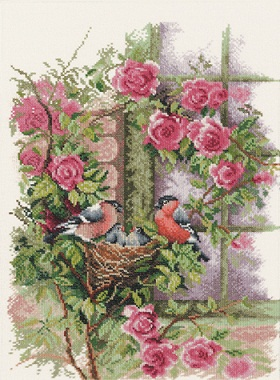 Lanarte PN 8020 Nesting Birds in Rambler Rose