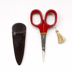 Cohana Small scissors with gold lacquer art (Shunuri-painting  Red)