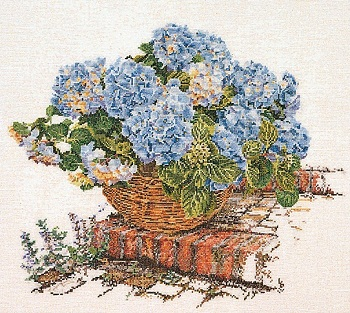 Thea Gouverneur GOK2046 Blue Hydrangea in basket