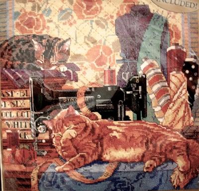 Bucilla 42447 Cats in sewing room