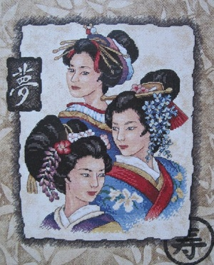Sunset 13702 Three geishas
