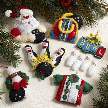 Bucilla 86453 Bowling Santa ornaments