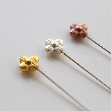Cohana Marking Pins with Flower colored Gold, Silver and Bronze