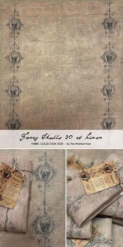 The Primitive Hare Fancy skulls fabric,30ct