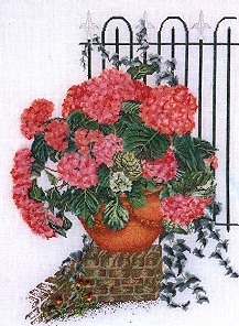 Thea Gouverneur GOK2036 Rose Hydrangea With Fence