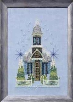 Little Snowy Blue Church - Snow Globe Village Series
