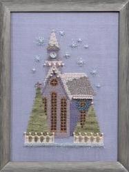 Little Snowy Lavender Church - Snow Globe Village Series