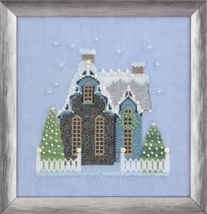 Little Snowy Blue Cottage - Snow Globe Village Series
