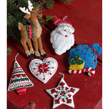 Bucilla 86666 Nordic Santa ornaments