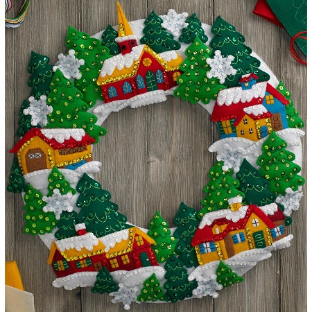 Bucilla 86686 Snow village wreath
