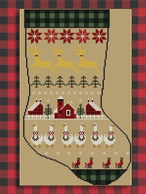 Twin Peak Primitives Rustic Christmas Series Stocking II