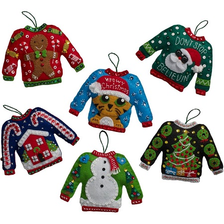 Bucilla 86674 Ugly sweater ornaments